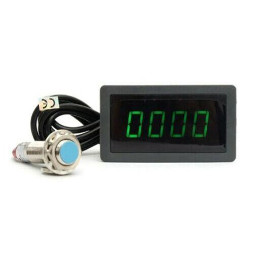 Tachometer 4 Digital LED Tach RPM Speed Meter With Hall Proximity Switch Sensor