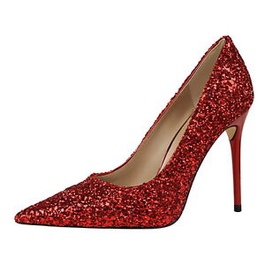 Sparkly Red Heels Pointed Toe Wedding Bride High Pumps Party Shoes ...