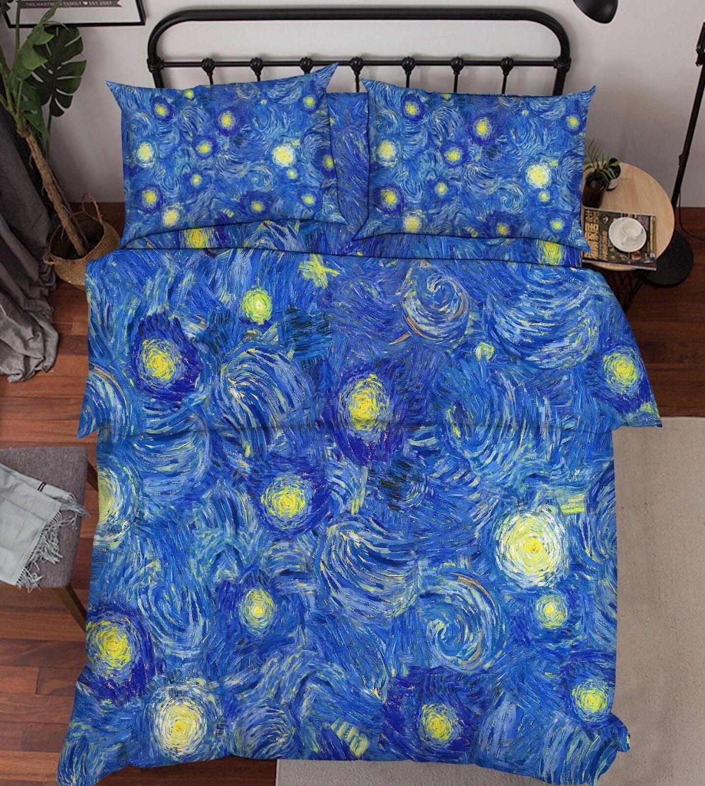 3D Blau Zeichnen 459 Bett Kissenbezüge steppen Duvet Decken Set Single DE Carly