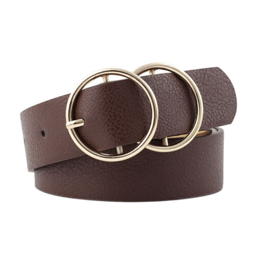 Women Girls Faux Leather Belt Round Ring Metal Double Buckle Waistband JD