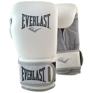 Professional Powerlock Training Boxing Gloves in White//Silver Everlast 12oz