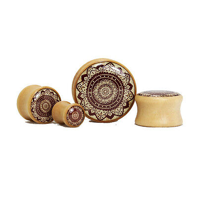 TIMBER LOTUS PATTERN EAR PLUGS PIERCING JEWELLERY FLORAL TUNNEL WOODEN PL34