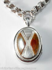 Beautiful Victorian Solid Silver Scottish Agate Locket & Large Link Chain