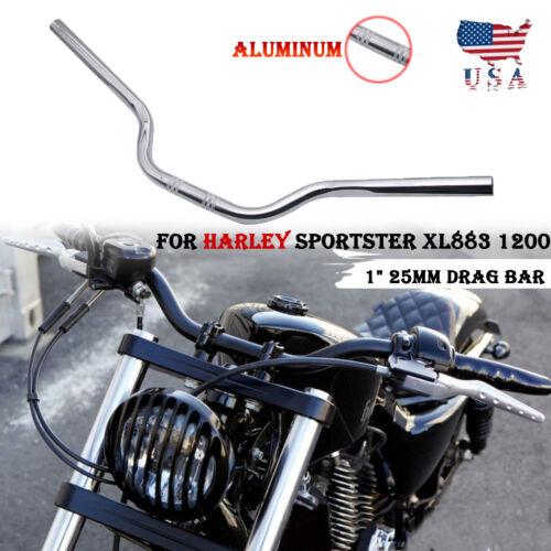"""1/"""" 25mm Chrome Tracker Handlebars Drag Bar For Harley Sportster XL883 1200"""