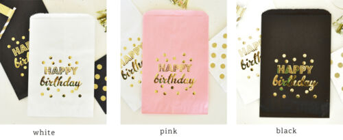 Happy Birthday Gold Foil Candy Buffet Bags Birthday Party Favors