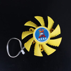 2Pin-75mm-7-5cm-Yellow-3-Hole-9-Blades-VGA-Video-Graphics-Card-Cooling-Fan-BOXED