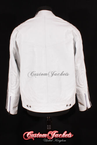 Men/'s /'RACER/' White With BLACK RACING STRIPE Motorcycle Style Leather Jacket