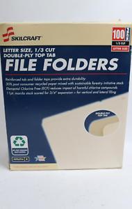 1//3 Cut Skilcraft Letter Size Reinforced File Folders 100 Pack