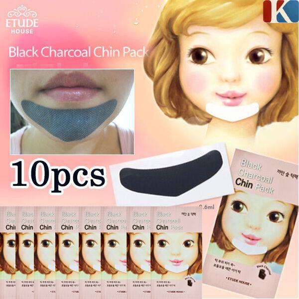 ETUDE HOUSE Black Charcoal Chin Patches 10PCS Blackhead Masks / Korean Cosmetics