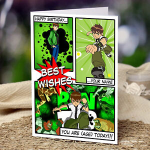 Image Is Loading EXTRA LARGE Ben 10 Personalised A4 Birthday Card