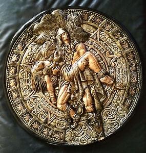 Calendario Azteca Guerrero Yeso Pintado De 22 Pulgadas De Diámetro
