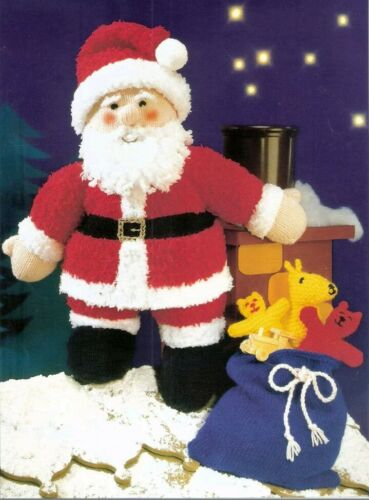 Father Christmas Santa Claus  Toy Knitting Pattern with sack knitted toys