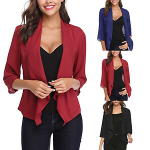 Womens-Open-Front-Light-Cardigan-3-4-Sleeve-Thin-Chiffon-Blazer-Jacket-Coat-Tops