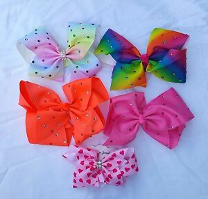 Small Kids Ribbon Bows with Diamantes  and Aligator Clip Various colours