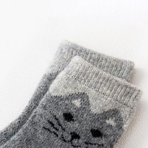 6 Pair Baby Cute Cat Wool Cotton Socks Kids Boy Girl Soft Winter Thick Warm Sock