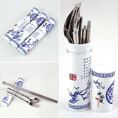 Boxed Set Cutlery Chopsticks Stainless Steel Fork Spoon Travel China Style