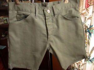 29-Waist-SMALL-True-Vtg-1970s-Mens-RUGGED-GREY-TRASHED-BRass-Talon-Zip-Shorts