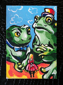 Original-art-by-Bastet-034-Thumbelina-and-Toads-034-OOAK-hand-painted-ACEO