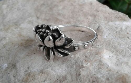 Lotus Ring Flower Ring Oxidized Solid Sterling Silver Lotus Ring