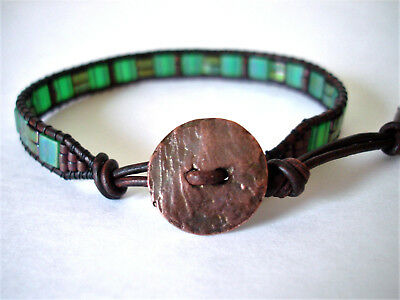Green & Copper Slim Handmade Beaded Leather Wrap Bracelet