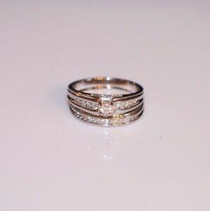 .75 TCW Round Diamond Engagement & Wedding Ring Set - White 14K Gold
