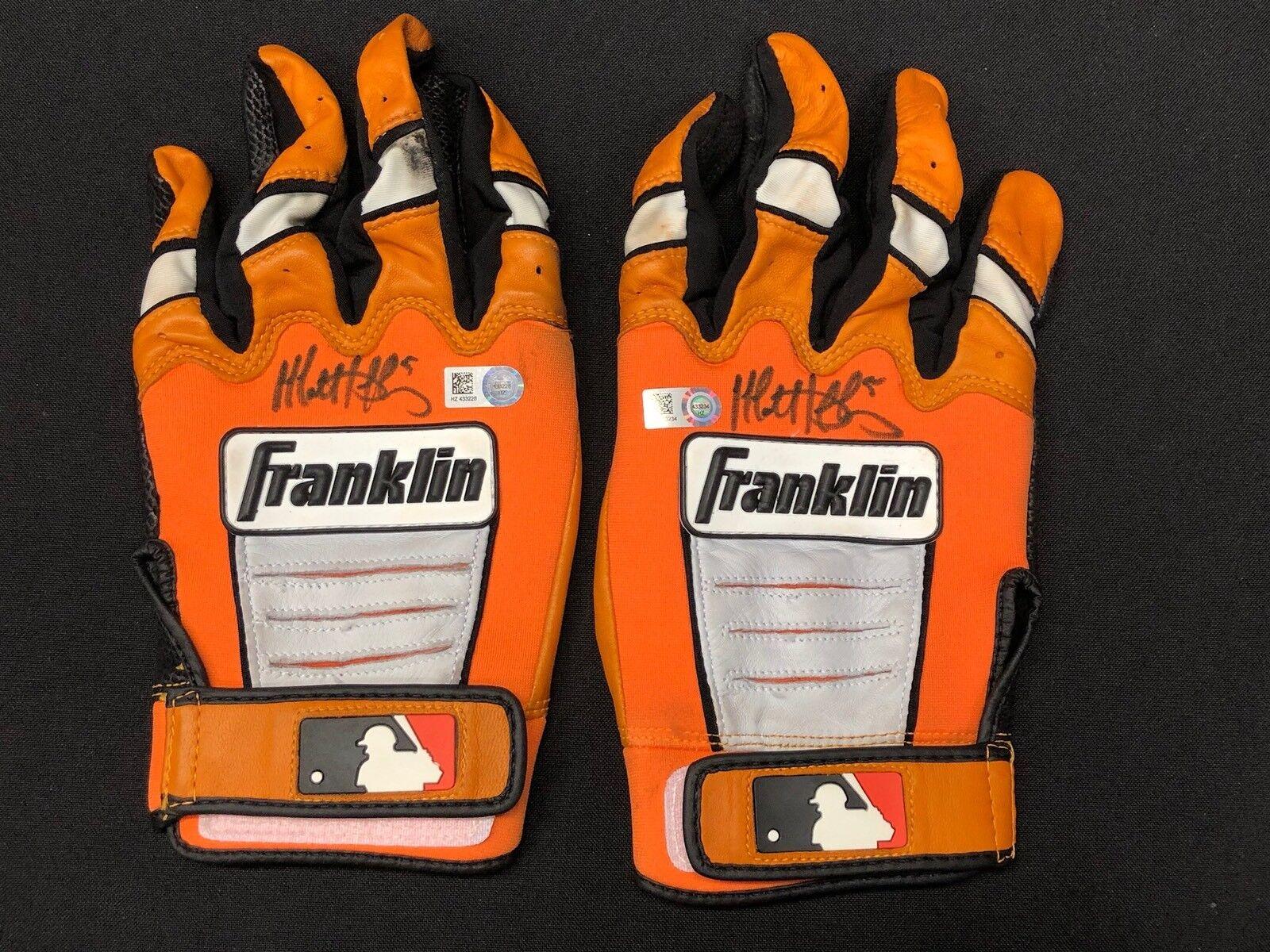 Matt Duffy Signed Game Used Baseball Batting Gloves *Signed Pair MLB