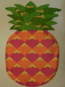 Shaped Southern Pineapple, Bright Pink, Orange, Yellow, Burlap -Look Garden flag