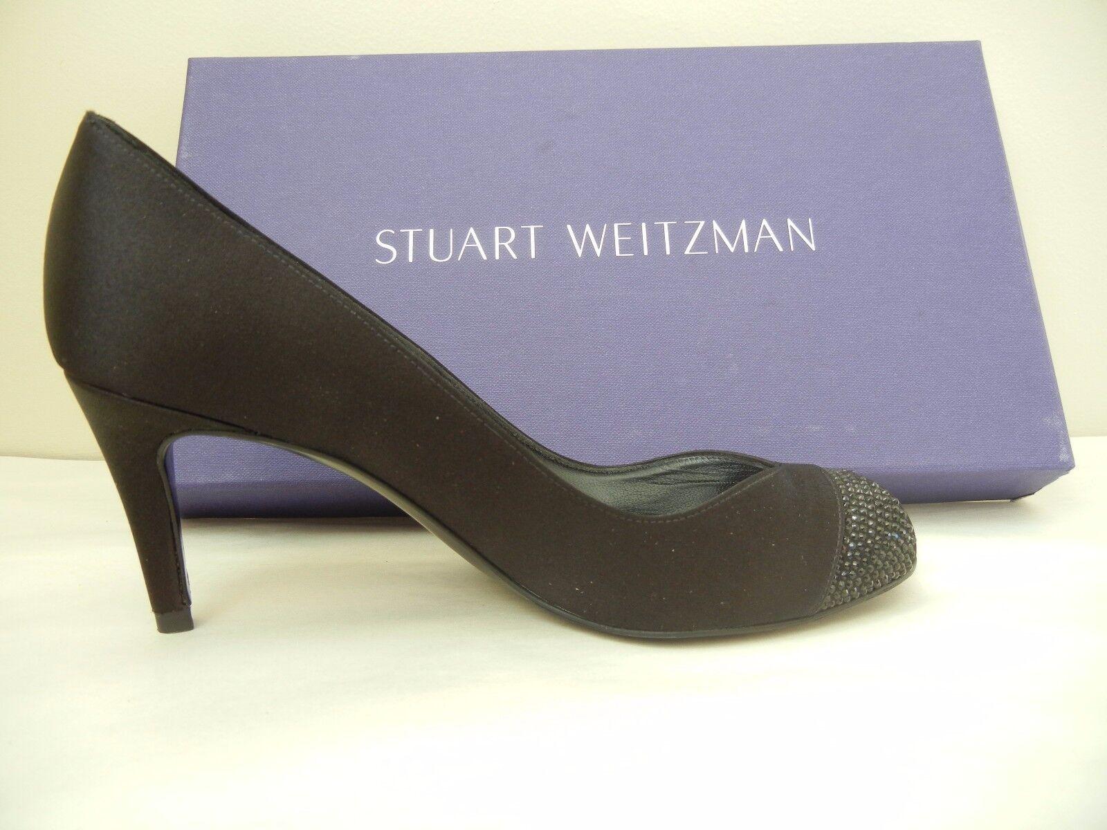 Womens Shoes - Stuart Weitzman - Marvel - Black Satin Size - Size Satin 7.5M - NWB 3eb7c8