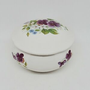 San Francisco Music Box White Porcelain Trinket Violets Plays Memory Vintage 80s