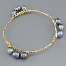 Gold Wire Wrapped Bangle Bracelet Gray Pearl Inspired Popular