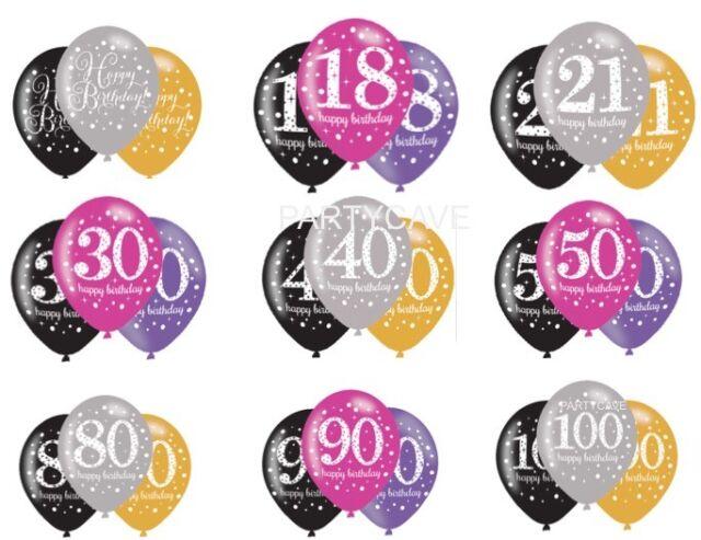 6PK 11 Happy Birthday Milestone Party Helium Quality LATEX Balloons 18th 100th