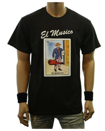 Funny Graphic T-Shirts EL MUSICO LOTERIA Borracho Mexican Card Printed Urban Tee