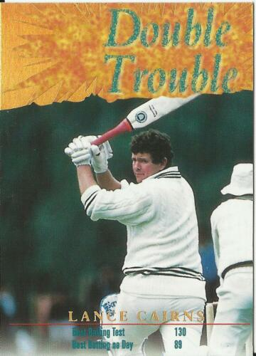 NEW ZEALAND 1995 Card Crazy AUTHENTICS CRICKET DOUBLE TROUBLE LANCE CARINS