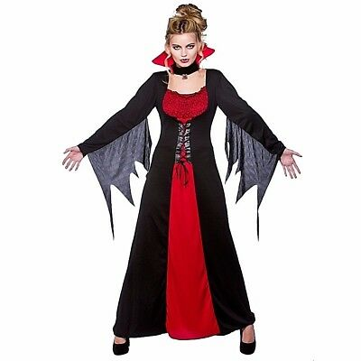 Adult CLASSIC VAMPIRESS Ladies Halloween Party Fancy Dress Costume UK Sizes 6-28