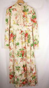 Vtg-Prairie-maxi-dress-Victorian-Wedding-floral-70s-Boho-M-GEORGEOUS-Union-made