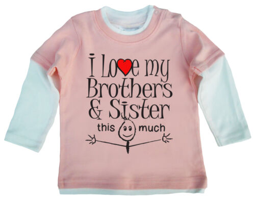 "Baby Skater Top /""J/' aime ma soeur Sisters Brother Frères autant/"" Cadeau"