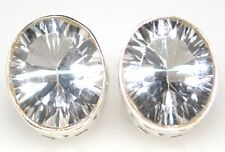 White Quartz Sterling SILVER Stud Earrings 925 Brilliant cut Solitaire Gemstone