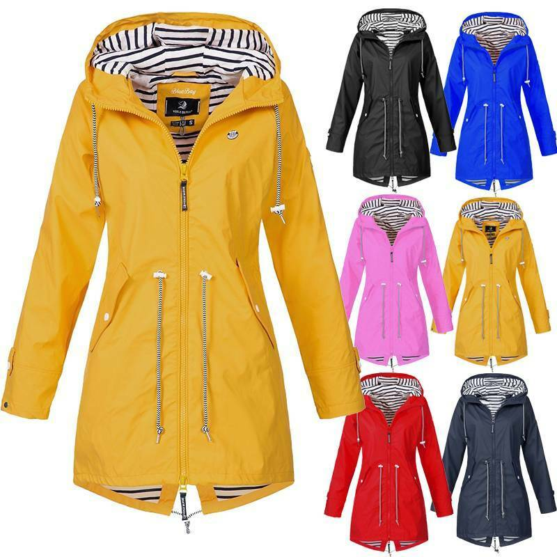 Women's Hooded Plain Raincoat Waterproof Windproof Coat Jack