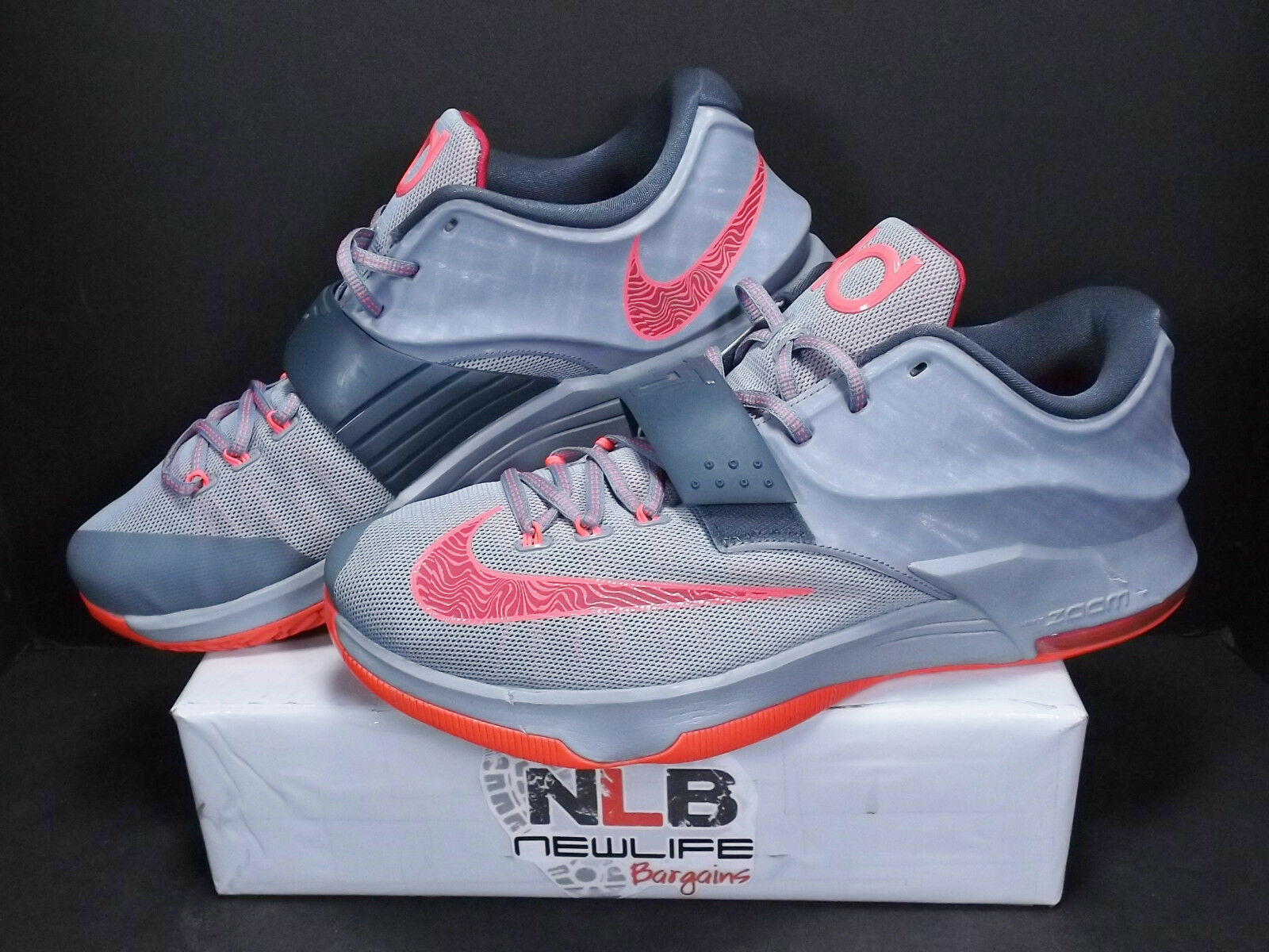 Nike Air Zoom KD 7 VII Calm Before Storm Grey/Hyper Punch 653996-060 Men's Sz 14
