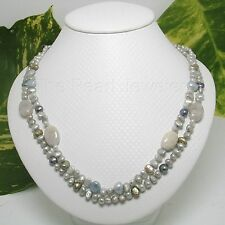 TPJ Gray 4-6mm Freshwater Pearl & Agate Double Lines Necklace; Silver 925 Clasp