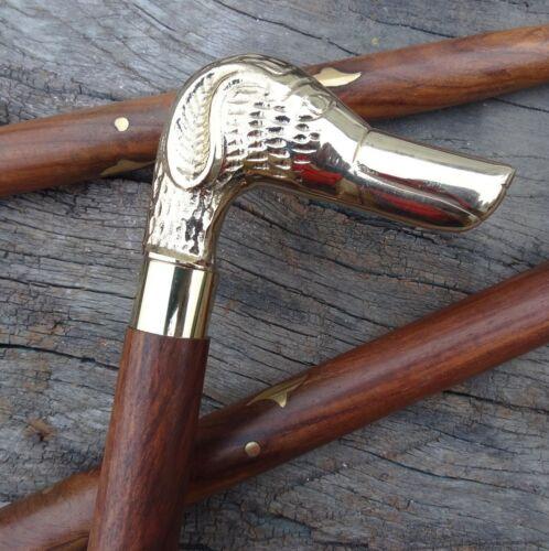 Details about  /Brass Dog Animal Handle Walking Stick Vintage Wooden Cane Designer Antique Gift