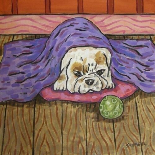 bulldog taking a nap dog art tile coaster gift