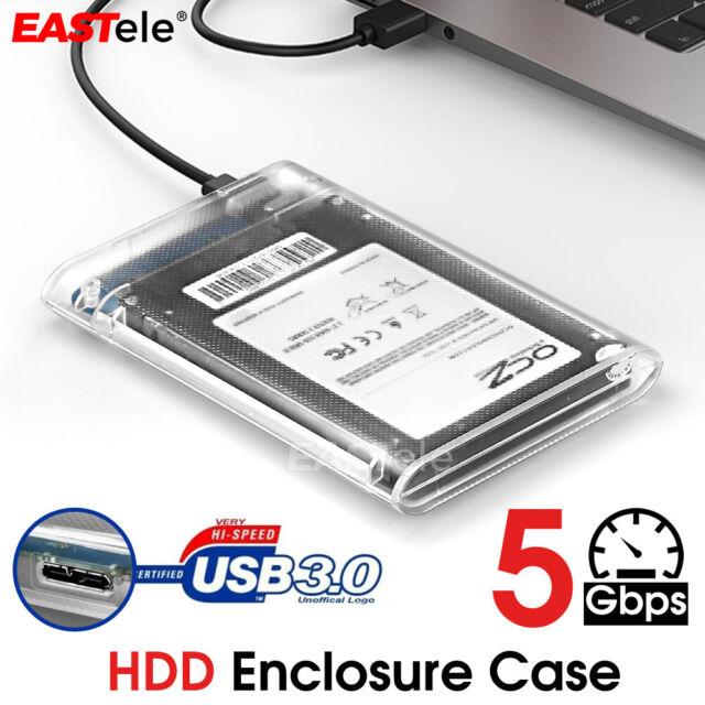 "Hard Drive Enclosure USB 3.0 To SATA 2.5"" External HDD SSD Case Disk TRANSPARENT"