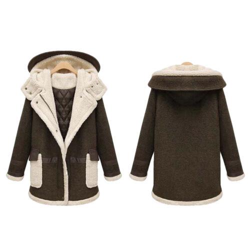New Lady Thicken Winter Warm Coat Woolen Hooded Medium Parka 2Color Size 2XL-4XL