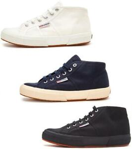 SUPERGA-2754-Cotu-Mid-Top-Stivali-Di-Tela-In-Bianco-E-Blu-Navy