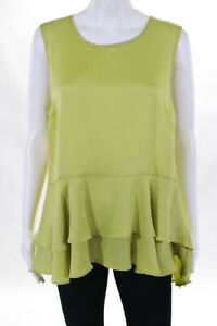 Vince-Camuto-Womens-Blouse-Size-Large-89-Green-Sleeveless-Crew-Neck-JG15