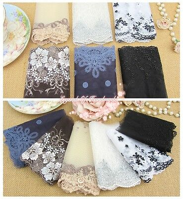"""4""""--5"""" *1Y Embroidered Floral Tulle Lace Trim~White/Brown/Deep Blue~Beautiful~"""