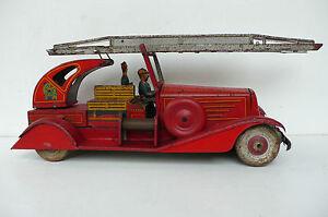 C R Delahaye Pompier Grande Échelle Tôle Lg 35 Cm État De Jeu 1939