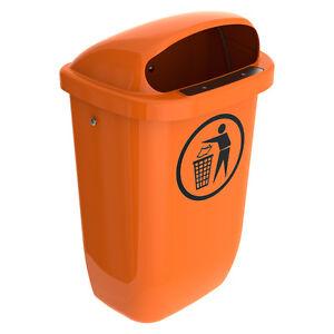 Aussen-Abfallbehaelter-Muelleimer-Abfalleimer-50-Ltr-Kunststoff-orange