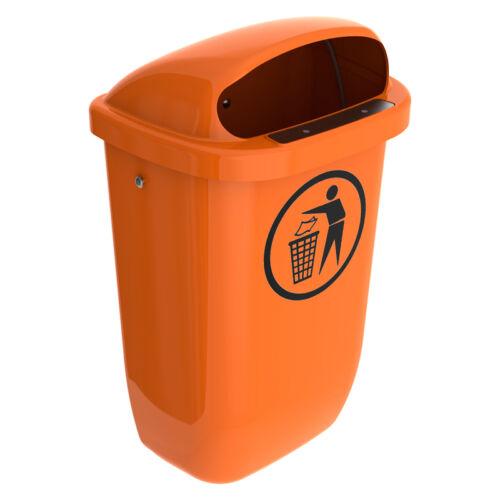 Kunststoff orange Abfallbehälter Mülleimer Abfalleimer 50 Ltr Außen